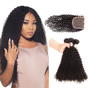 China Free Shipping #1B Brazilian Human Hair Kinky Curly Weave 3 Hair Extensions with 4*4 Lace Closure on sale