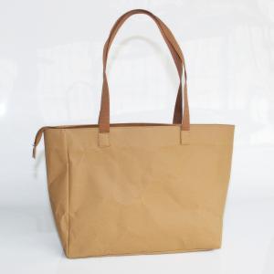 China Durable Brown Washable Tote Bags Kraft Paper Shopping Bag ladies handbags with custom logo on sale