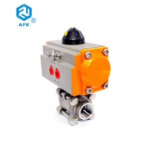 China 3PCS Pneumatic Actuated Female Type NPT BSPT BSPP  Threaded Ball Valve on sale