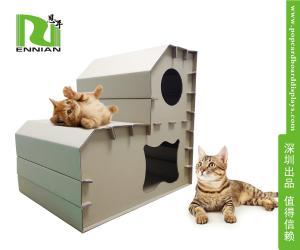 China Customized corrugated cat scratcher Cardboard Home Furniture Pet House on sale