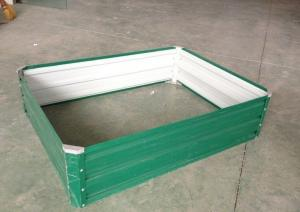 China Light Green Powder Coated Steel Raised Garden Beds Anti Rusting on sale
