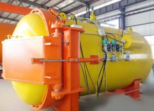 China Automatic hot presser vulcanization tank autoclave with PLC system and cylindric and single drum structure on sale