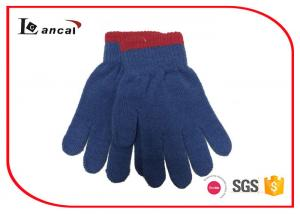 China Plain Winter Hand Gloves Bicolor Ribbed Edge , Winter Sports Gloves For Boys on sale