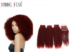 China 99J Color Brazilian Kinky Curly Hair Weave Human Hair 4 Bundles With Closure on sale