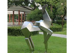 China Stainless Steel Animal Statue Metal Garden Abstract Deer Sculpture on sale
