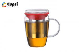 China High Borosilicate Glass Tea Cup With Lid Silicone Sleeve 580ml Intelligent Design on sale
