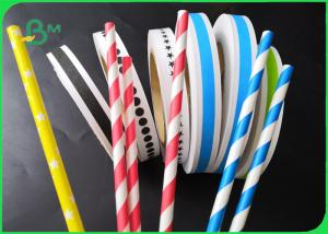 China 14mm 15mm Custom Printed Striped Drinking Straw Paper FDA Biodegradable wholesale