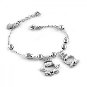 China Genuine Solid Sterling Silver Bead Chain Lovely Child's Bracelet B050 on sale