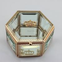 China Wedding Gifts Metal Glass Crown Jewelry Box on sale