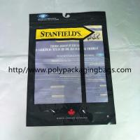 Custom Made Plastic Clothing Foil Ziplock Bags Self - Standing With Hook