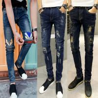 Black Shiny Mens Super Skinny Stretch Jeans With Pockets Custom Different Patterns
