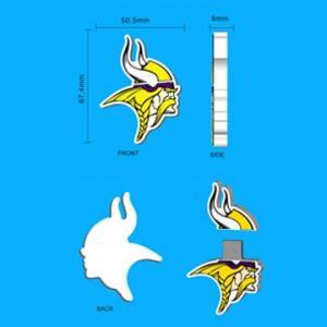 China Custom NFL PVC Minnesota Vikings Logo Usb Stick on sale