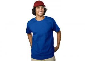China Cotton / Polyester Blue Casual T - Shirts Slim Fit / Mens Apparel / Women's Tops on sale
