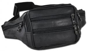 China Mens Womens Black Leather Fanny Pack Waist Hip Bag Pouch 3 Zippered Pockets on sale