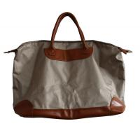Ivory Canvas waterproof shopper bag with leather pad and handle , zipper and fasten button