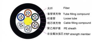 China outdoor non metallic non armored 12 core single mode fiber optic cable GYFTY on sale