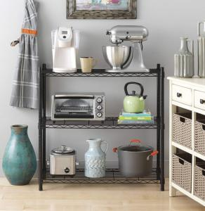 China Supreme 3 Tier Metal Wire Storage Shelves And Leveling Feet - Black on sale