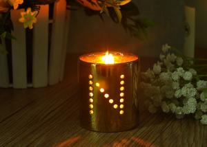 China Decorative Hollow Copper Plating Ceramic Candle Holders Customized Design on sale