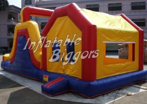 China Yellow Kids Inflatable Combo Jumping Bounce Houses Advertisement With Blower on sale