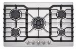 Kitchen Stainless Steel Top 5 Ring Gas Hob / Gas Cooktop 76cm With Heavy Cast Iron