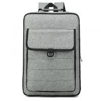 Gray Polyester Material Canvas Laptop Backpack Multifunction Laptop Bag