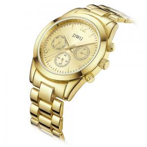 China 24k Gold Brass Wrist Watch , Quartz Japan Movt Womens Watch Water Resistant on sale