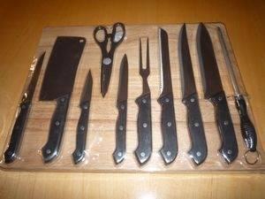 China 11pcs Kitchen Knife Set with Cutting Board on sale