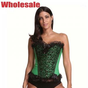 China Green Sexy 3XL Bustier And Corset Lace Up Corset Waist Trainer on sale