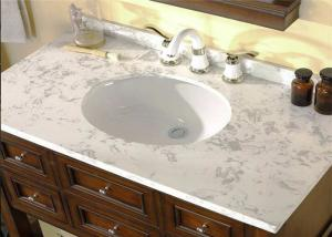 China Professional White Custom Marble Vanity Tops Oval Cutout For Hotel Bathroom on sale