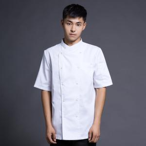 China Men Short Sleeve Kitchen Chef Uniform S-5XL Size White Color With High Durability on sale