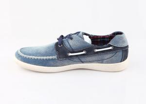 China Blue Denim Smart Men Casual Shoes , Flat Rubber Outsole Casual Footwear For Men on sale
