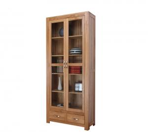 China 6 Shelf Oak Wooden Book Case With Doors , Interior Furniture Bookshelves on sale