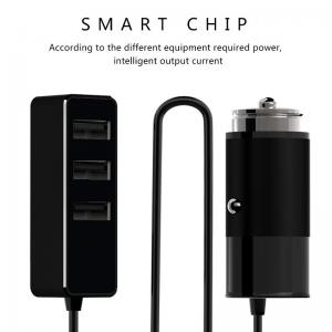 China FAST CHARGE 4 USB PORT CAR CHARGER with 1.5m cable alluminum usb car charger for IOS and Android supplier