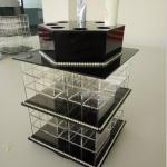 China Acrylic Makeup Organizer for Cosmetics Compartment Plexiglass Cosmetics Display Case wholesale