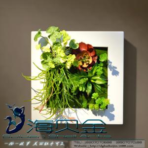 China Plastic Frame Artificial Living Plants Wall Hanging Ornament Craft for Commercial Office on sale