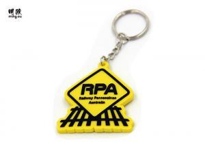 China 3D Design Soft PVC Keychain Custom Black RPA Logo With Yellow Body on sale