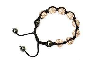 China 925 sterling silver, gold shamballa bead bracelet 3.15 diameter crystal jewelry on sale