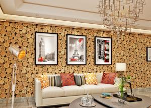 China Soundproof Wood 3D Room Wallpaper , 3D Vinyl Wallpaper For TV Background on sale