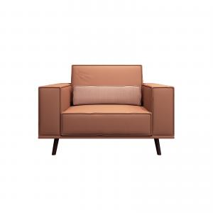 China Fashion modern lobby furniture single sofa in Leather upholstered with Walnut wood legs for 4 star hotel on sale