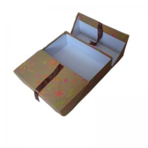 China Custom Made Printed Folding Brown Kraft Paper Packaging Box , Paper Storage Boxes For Gifts on sale