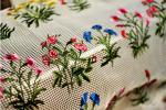 Floral Multi Colored Embroidered Net Lace Fabric , Antique Bridal Lace Mesh Cloth