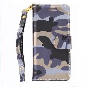China PU+PC Double Fold Camouflage Bracket Back Cover Cell Phone Case For iPhone 7 6s Plus 5s with Hand Strap on sale