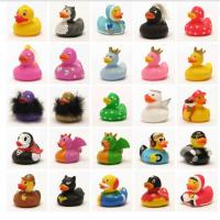 Novelty Metal Weighted Floating Rubber Ducks Blue Color / PVC Bath Toy