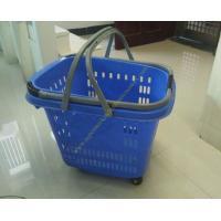 50L Supermarket Plastic Shopping Basket With Wheels , Long Bar Retractable Handle