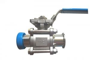 China 3  Pc  Sanitary Stainless Steel Ball Valves Brewing  Full Port Tri Clover Clamped on sale