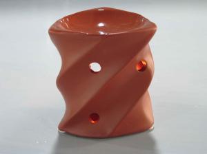 China Pottery Screw Shape Pottery Ceramic Fragrance Oil Burner With Tealight  7.6  X 7.6 X 8.5 Cm on sale