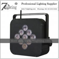 Battery Powered Wireless DMX 9LEDs RGBWA+UV PAR LED Uplighting for Event, Stage, DJ