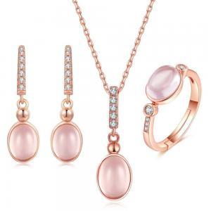 China CZ Natural Rose Quartz Pendant Necklace Ring Earrings Women's Jewelry Sets on sale
