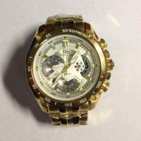 Golden Quartz Stainless Steel Mens Watches , 5 ATM Water Resistant