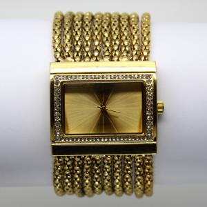 China hot wire mesh belt band rectangular dial with diamond women's wrist watch on sale